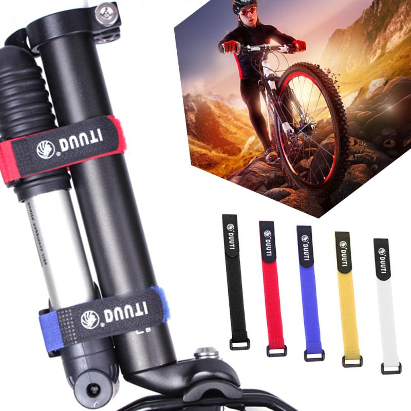 Lote de 4 unidades de cinta adhesiva de nailon con gancho para bicicleta, cinta autoadhesiva para atar cables, banda para botella y linterna para ciclismo