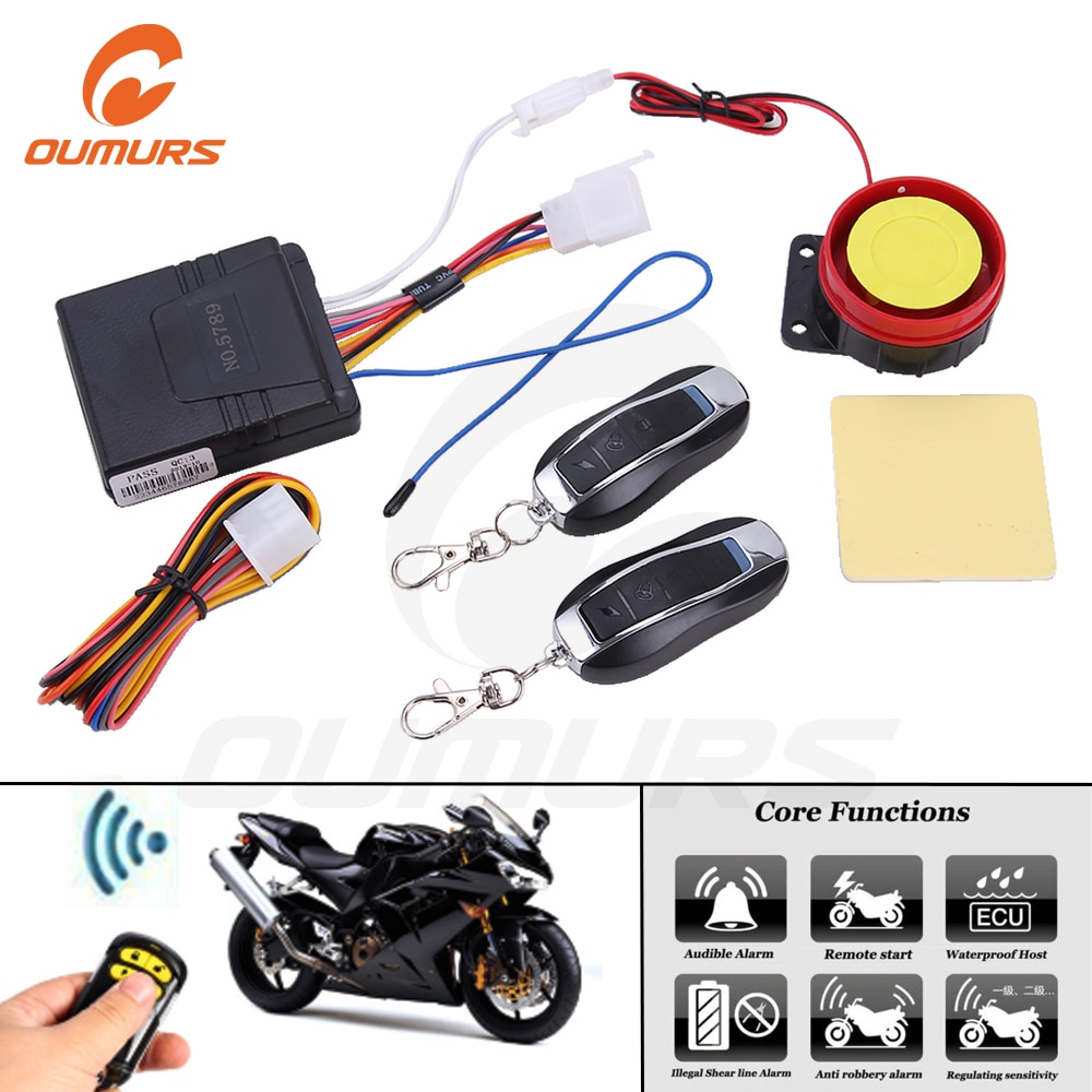 OUMURS, sistema de alarma de seguridad antirrobo Universal para motocicleta, llave de Control remoto con arranque bidireccional, motocicleta Scooter de 12V