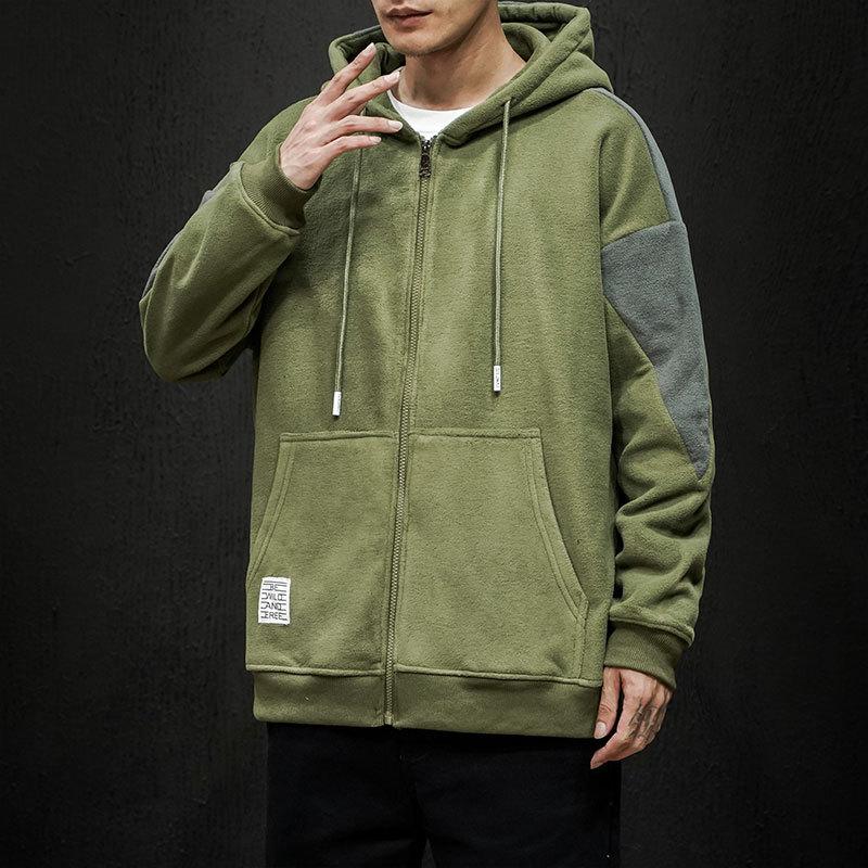 Harajuku Hoodie Sweatshirt Men's Japanese Loose Trend Stitching Contrast Color Hoody Coat Man Casual Hooded Coats Oversize 5XL