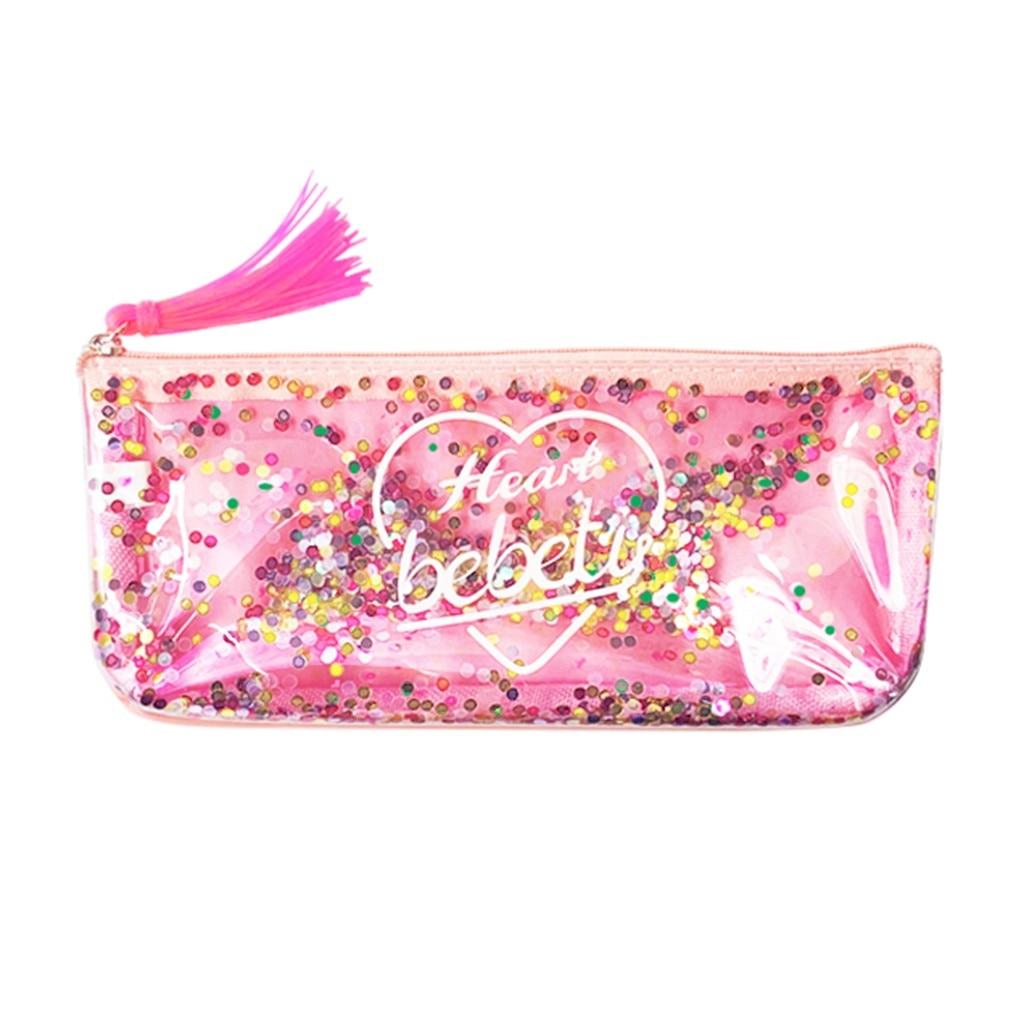 # H30 lindo borla lentejuelas vestido de lápiz caso PU de calidad de la Escuela para niñas niño escuela suministros papelería lindo lápiz caja de lápiz bolsa