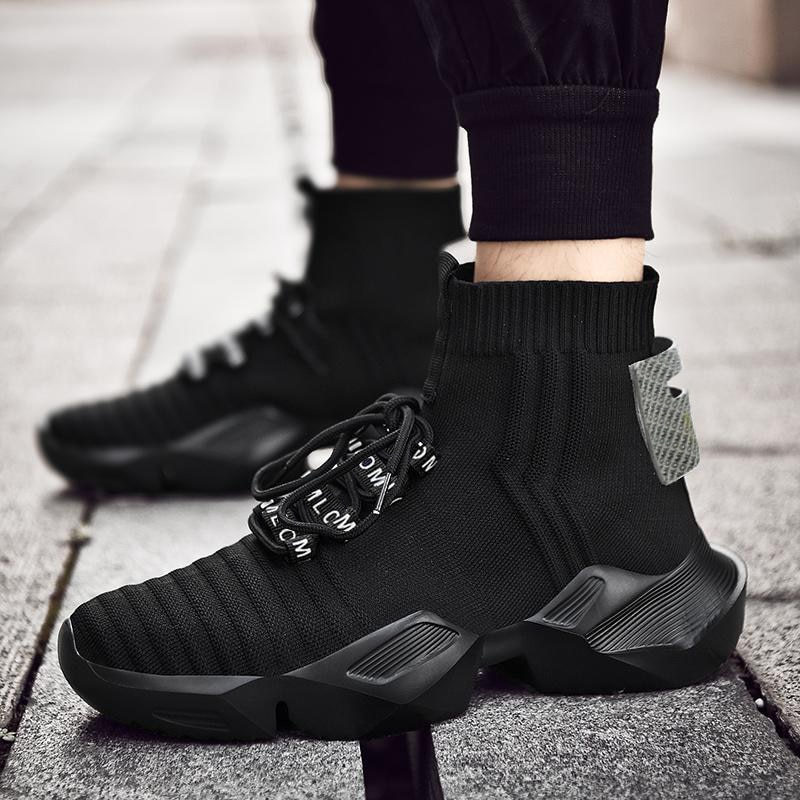 Men's Black Knitted Socks Shoes Ultra Light and Refreshing Breathable Fashion Trend Quality Sports C