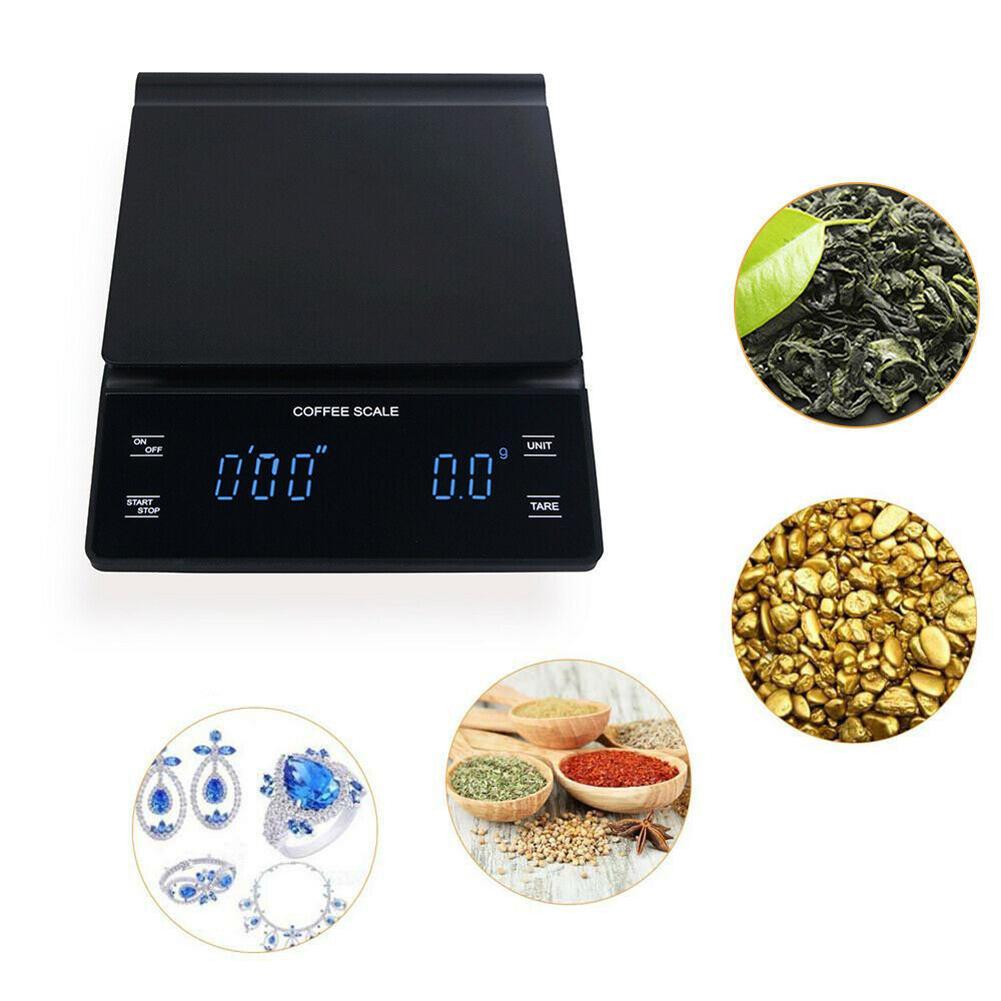 ميزان قهوة للمطبخ مع مؤقت 3 كجم/0.1 جرام ، دقة عالية ، للصب فوق بالتنقيط ، ميزان اسبريسو ، شاشة رقمية تعمل باللمس
