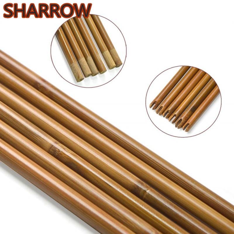 "6/12/24Pcs 33""/ 84cm Archery Arrow Shaft Bamboo Arrow Shafts Self Nock Handmade 8mm Arrow DIY Tools Hunting Shooting Accessories"