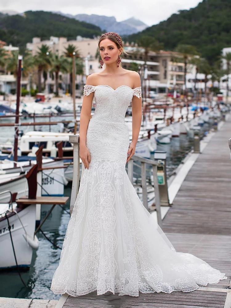 Mermaid wedding dress lace simple retro white sleeveless wedding gown applique plus size