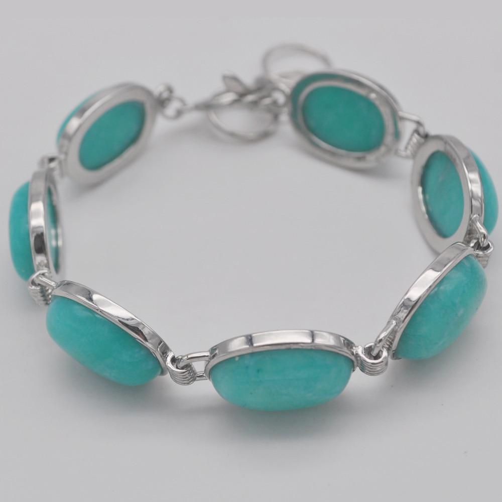 Amazonita grânulos de pedra gem pulseira 8 Polegada jóias g062