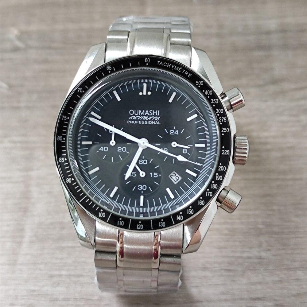 OUMASHI 39mm Men Watch Sport 24 hours Multifunction Watches Top Brand Luxury Full Steel full chronograph Quartz Clock VK63 Men