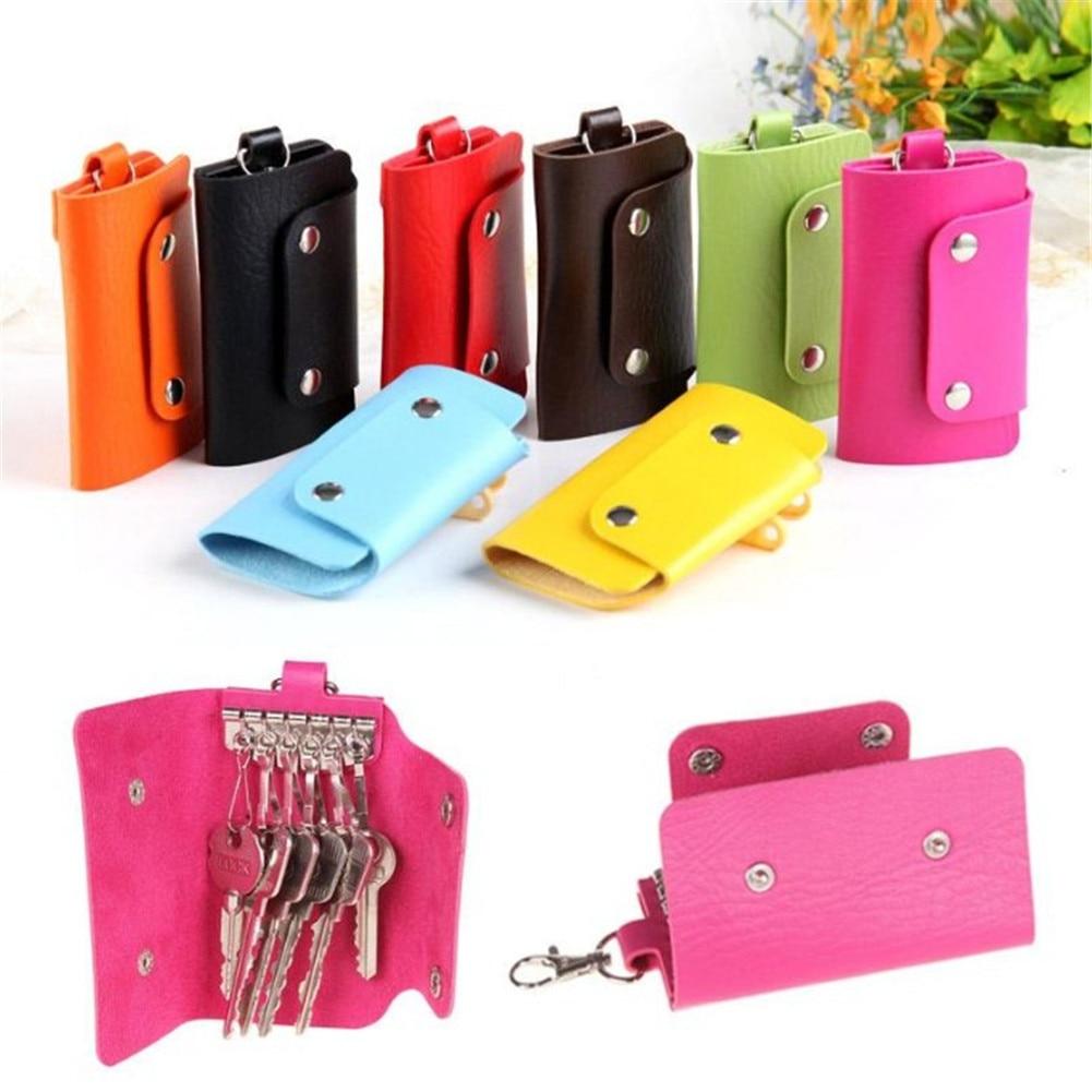 1 PC Pocket Keychain Leather Housekeeper Holders Car Keychain Key Holder With Button Bag Case Key Wa