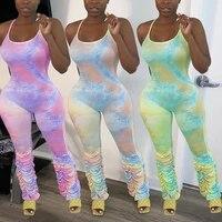 ursuper 2021 new fashion folid women jumpsuit trendy tie dye fold design jumpsuit