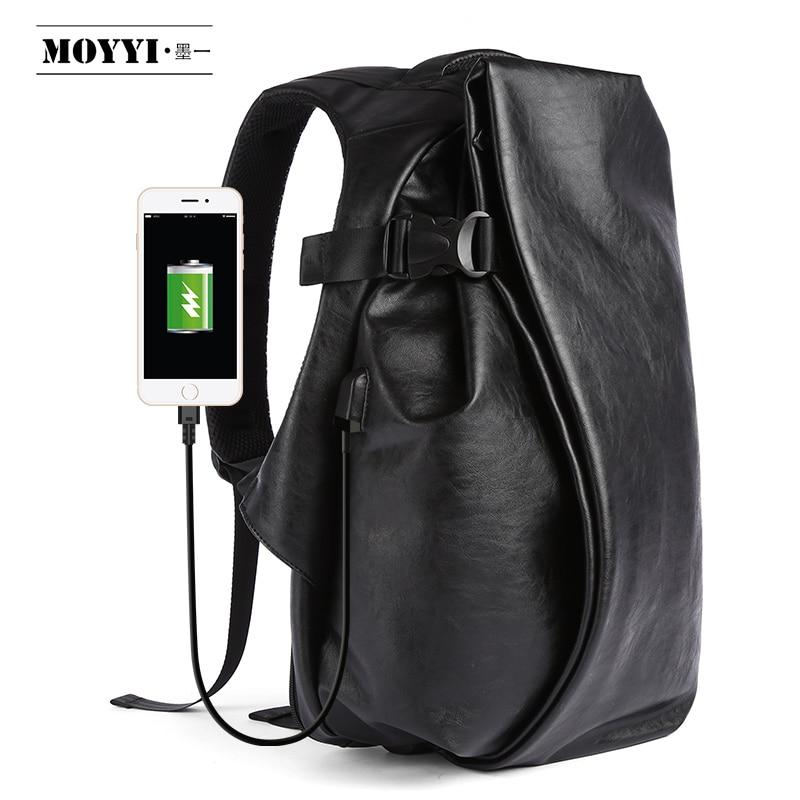 Рюкзак мужской, кожаный, с USB-зарядкой, 15,6''