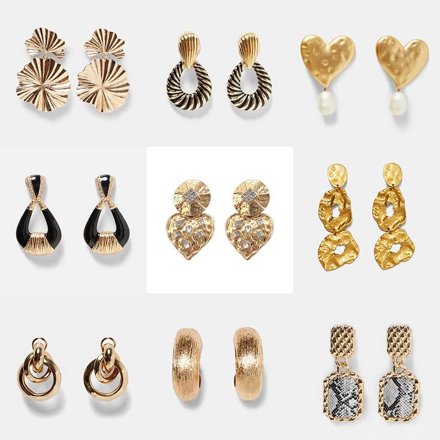 ZA Metal Long Heart Resin Pentagram Drop Earrings for Women 2019 Tassel Creative Gold Round Earring Daily Life Present Holiday