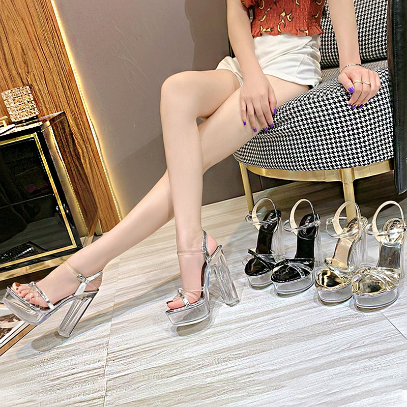 2021 Summer New Korean Fashion Fish Mouth Stiletto Sandals For Ladies Transparent Thick-Soled Buckle Sexy High Heels