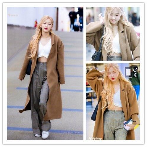 kpop Blackpink Rose same wool women Coats Long Slim Outerwear ladies Retro palace style Winter warm large pocket Jacket Clothes
