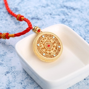 Natural south red enamel porcelain hollow Pendant Necklace Chinese style retro unique ancient gold craft CHARM Silver Jewelry