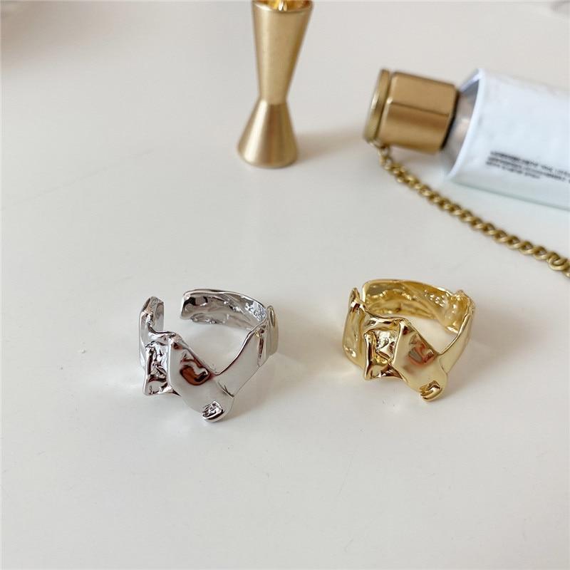 Pofunuo real 925 prata esterlina estilo francês feminino nicho punk anéis irregular geométrica anormal enrugamento textura nicho anéis