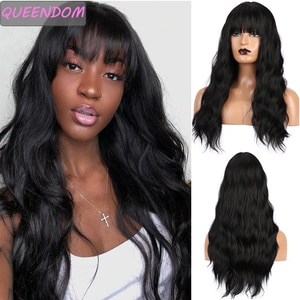 Длинные черные волнистые синтетические волосы парики для женщин волнистые высокотемпературные волоконные Искусственные парики 24 дюйма натуральный косплей парик с челкой