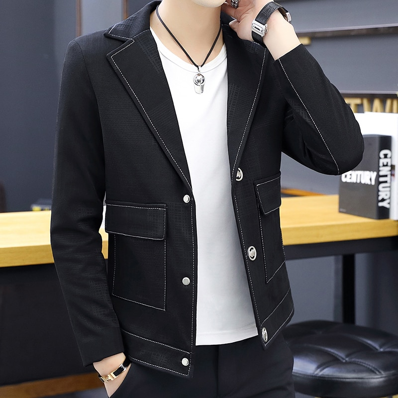 New Mens Blazers Jacket Single Breasted Slim Fit Boys Coat Long Sleeve Lapel With Pockets Cool Guys Casual Jackets D58