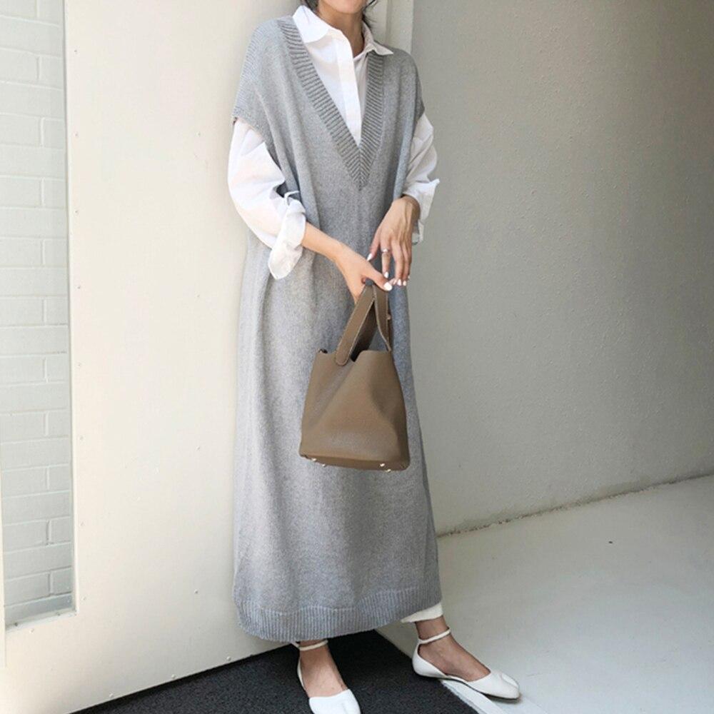 2021 Autumn Japanese Style Long Vest Jacket Over The Knee Korean Loose Knit Dress V-neck Solid Color