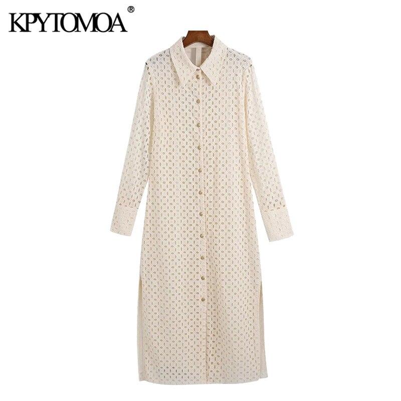 فستان نسائي موضة 2021 من KPYTOMOA فستان ميدي مناسب بفتحات جانبية وأكمام طويلة وفساتين نسائية