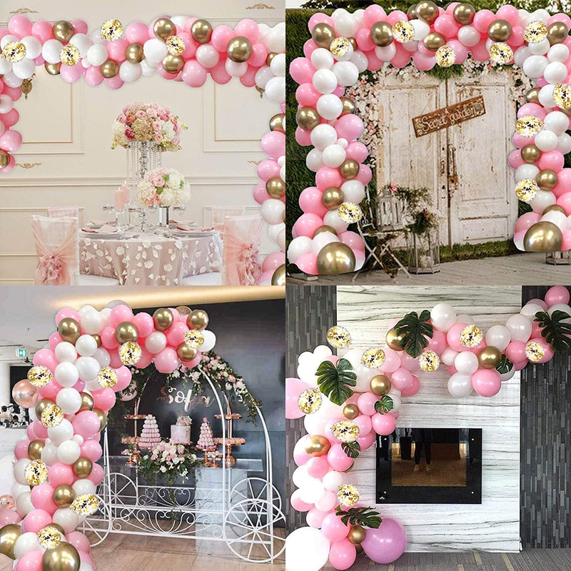 112 globo set de guirnaldas arco globo Rosa oro blanco de 16 pies globo cumpleaños decoración de fiesta de boda