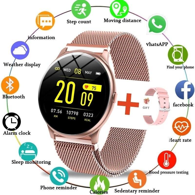 2021 New Color Screen Smart Watch Women Men Waterproof Sport Fitness Heart rate blood pressure track