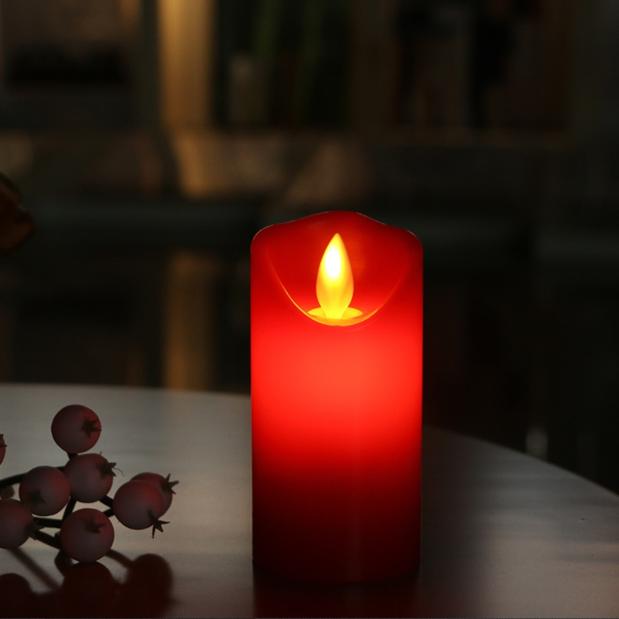 Teledirigido vela LED roja sin llama velas Led con llama parpadeante Bougie Flottante Mariage Led vela remota roja h50lz
