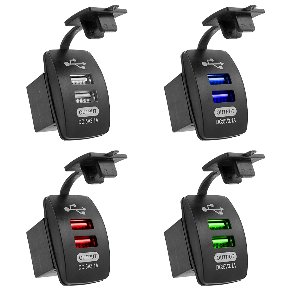3.1A Universal Car Charger Waterproof Dual Port Auto Adapter Outlet DC 12V 24V Mobile Phone Charger
