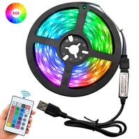 Светодиодные ленты RGB с ИК-пультом дистанционного управления, USB светильник для украшения стен гостиной, спальни, телевизора, 5 В, 1 м, 2 м, 3 м, 4 ...