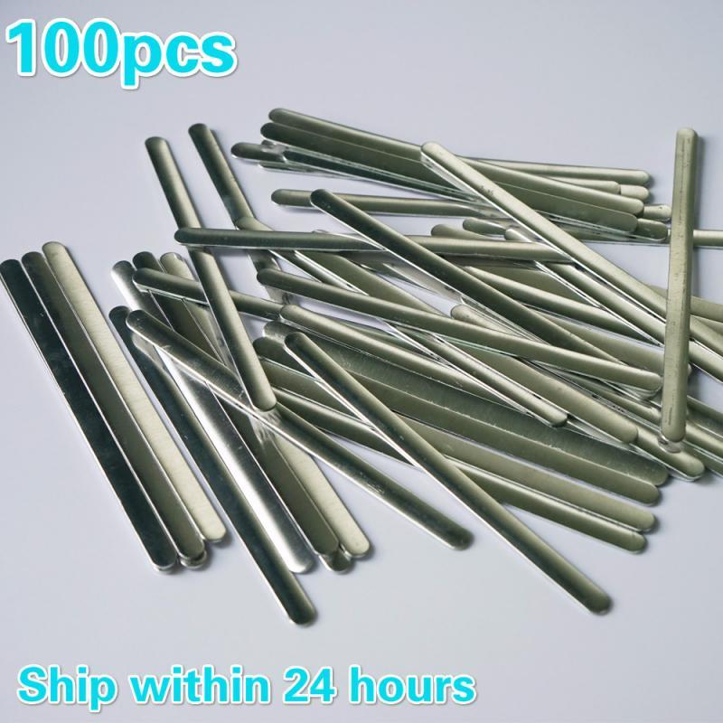 Tiras adhesivas de Metal planas de aluminio para la nariz, 100 Uds., sujetadores de cables para hacer máscaras DIY, 0,5x5x90mm, en Stock #25