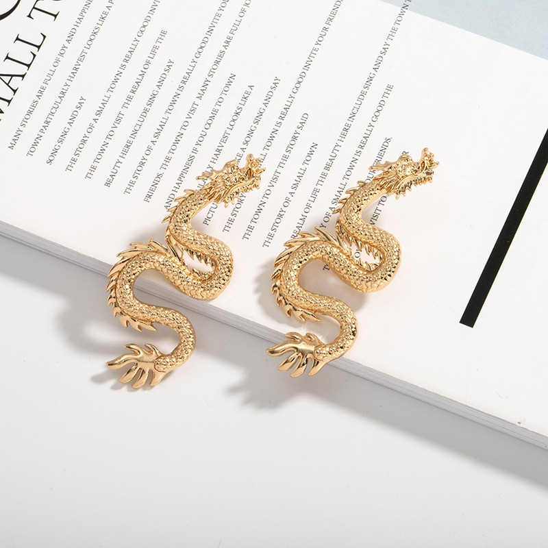 European Vintage Lucky Dargon Earrings for Women Men Jewelry Gold Color Ear Stud Handmade Womens Stud Earings Girl Gift E354