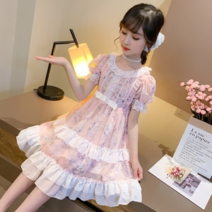 Party Clothes baby Girls Princess Dresses Lolita Lace Flowers dresses Girls Elegant Bow Chiffon dress Sweet Girls Clothes Summer