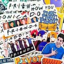 34 pièces/ensemble amis émission de télévision drôle créatif badges bricolage autocollants décoratifs dessin animé PC mur cahier téléphone maison jardin Graffiti