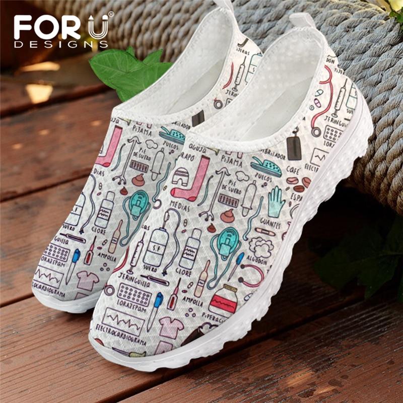 FORUDESIGNS Summer Women Breathable Mesh Shoes Flats Cute Nursing Pattern Women's Sneakers Nurse Bea