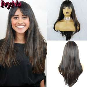 IvyNa Black Mixed with Brown Synthetic Wigs with Bangs Futura Heat Resistant Glueless None Lace Wigs for Black Women Middle Part