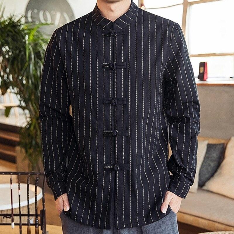 Retro Oriental ropa hombres de manga larga de algodón hecho a mano placa botones camisa suelta para hombre tapas chaqueta mandarín chino KK3271