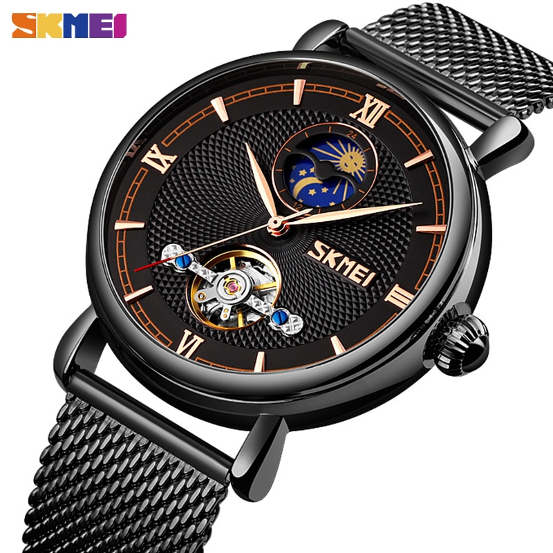 SKMEI Business Automatic Mechanical Watch Men  Automatic Wristwatches Mens Fashion Hollow Moon Phase Luxury Relogio Masculino