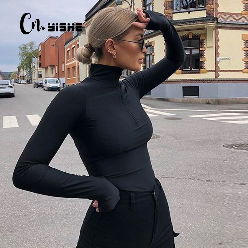 CNYISHE  Sheath Velvet Rompers Women Bodysuit Long Sleeve Regular Zipper Jumpsuits Women Fashion Streetwear Outfits Overalls