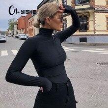 CNYISHE-body Sexy de terciopelo para mujer, mono de manga larga con cremallera Regular, moda urbana, trajes