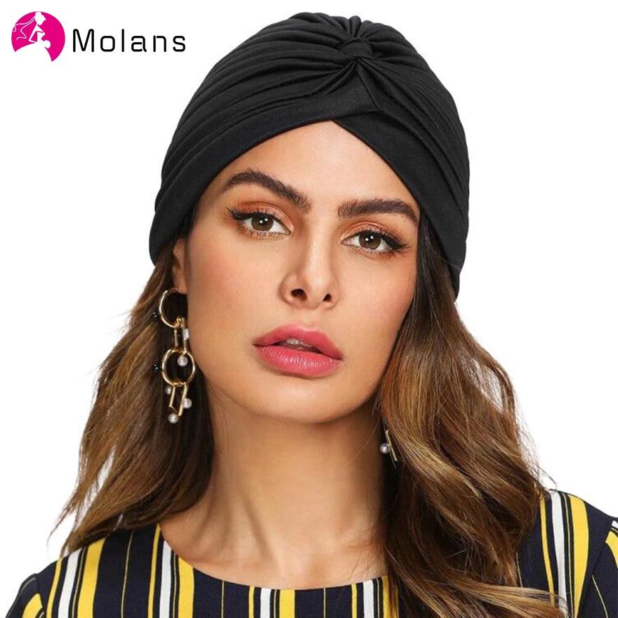 Molans Frauen Turban Hut Hijab 2020 Neue Frühling Schwarz Weiß Kopf Wrap Femme Musulman Stirnband
