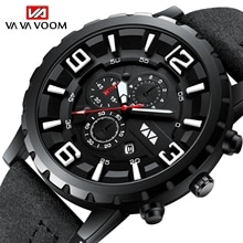 5D Stereoscopic Dial Solid Fashion Casual Mens Watches Waterproof Calendar Male Watch Leather Sport