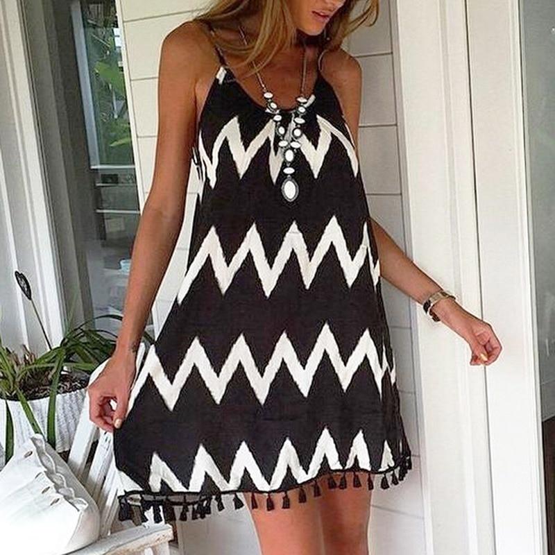 Female Wavy Strip Midi Dress Graceful Braces Shoulder Lady Dress Tassel Hem Summer Chiffon Beach Dress