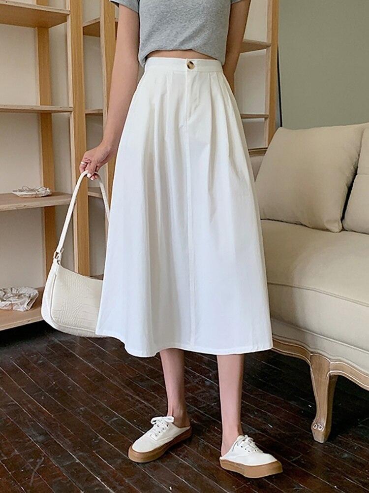 Женская юбка-трапеция, летняя белая юбка-трапеция, длинная юбка-трапеция, 2021