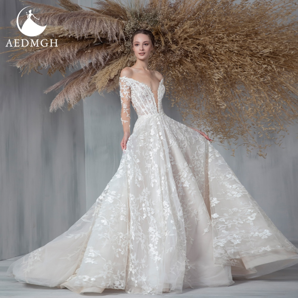 Review Aedmgh A-Line Beach Wedding Dresses 2021 Off The Shoulder Long Sleeve Vestido De Novia Lace Appliques Beaded Robe De Marige