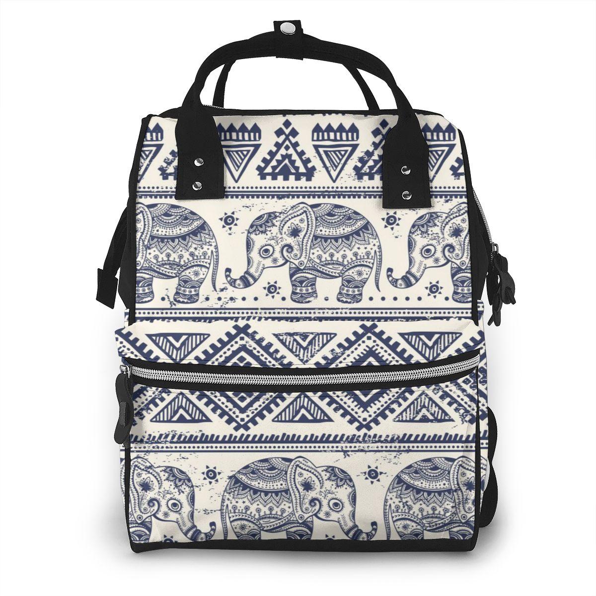 Bolsa de pañales con diseño de Mandala y elefante Boho, bolsas de maternidad para bebé, mochila de viaje para bebé, mochila cambiante, organizador de cochecito para mujer