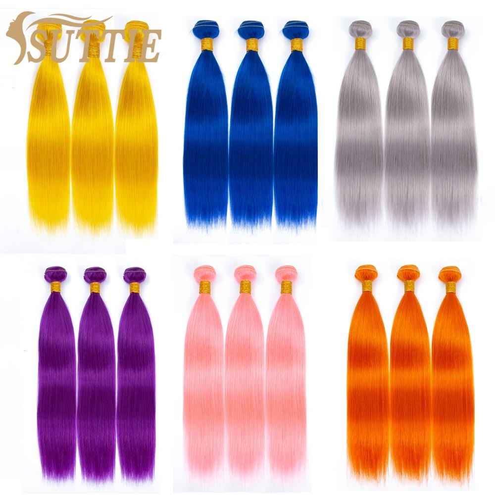 suttie pacotes de cabelo humano virgem cor roxa trama de cabelo rosa azul laranja