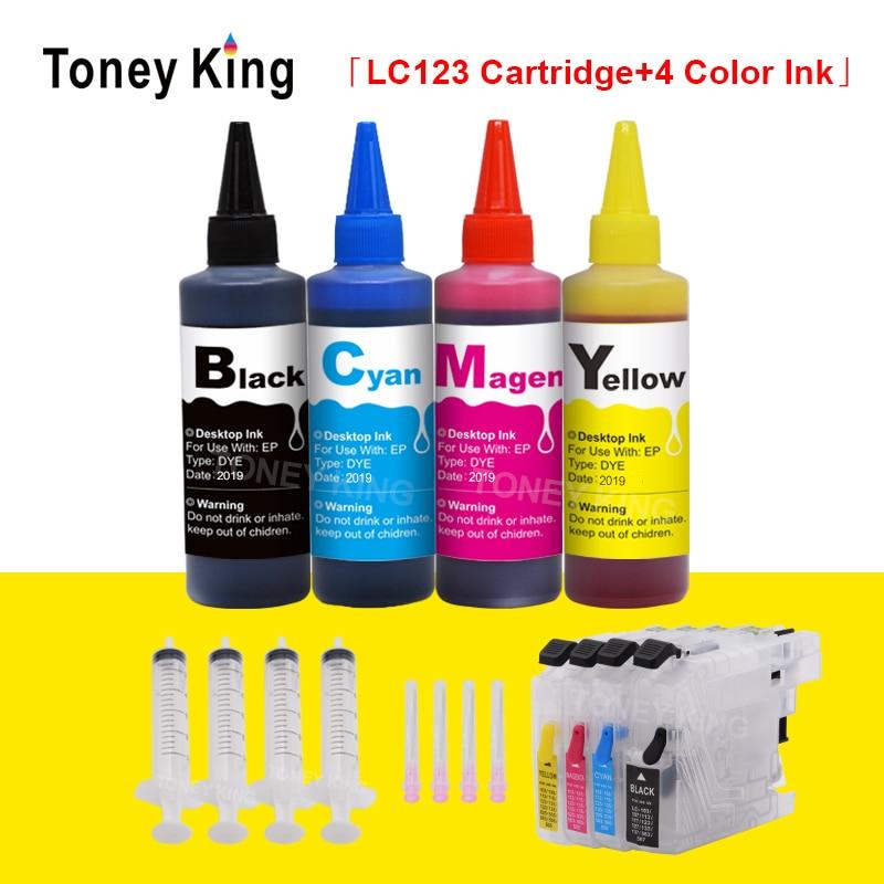 Toney rey LC123 XL cartuchos de tinta de la impresora para Hermano LC 121, 125, 127, 129, 123 DCP-J4110DW J132W J152W J552DW + tinta de tinte de 4 × 100ml