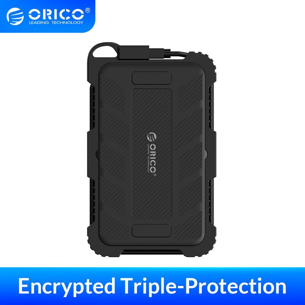 ORICO Encrypted Hard Drive Enclosure 2.5 Inch SATA to USB 3.0 HDD Case Waterproof Shockproof Dustproof UASP Encrypted HDD Box