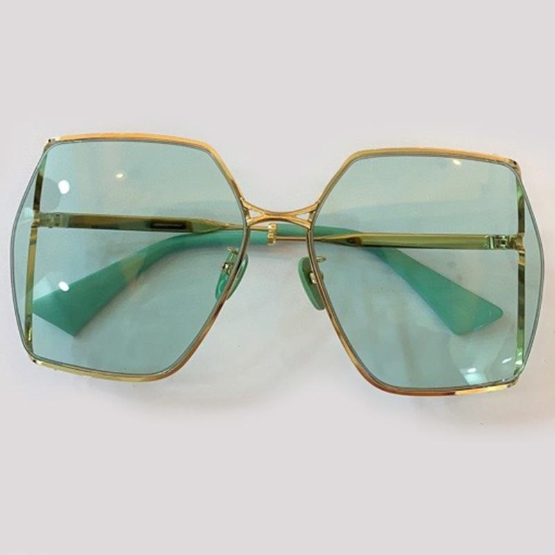 نظارة شمسية مربعة عتيقة للنساء ، إطار كبير ، ماركة فاخرة ، UV400