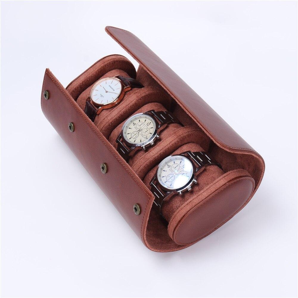 Case de Relógio de Viagem Couro do Plutônio Suporte para Viagem de Negócios Caixa Rolo Slots Relógio Armazenamento Organizador Coletor 3