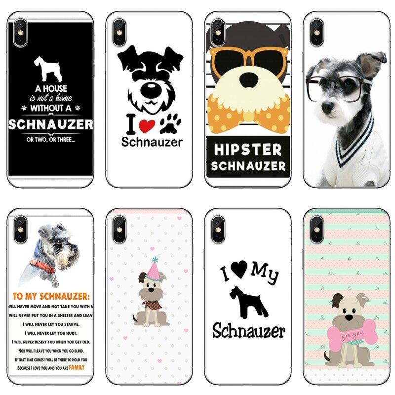 Funda de perro cachorro Schnauzer en miniatura para iPhone 11 pro XR X XS Max 8 7 6s plus SE 5s 5c iPod Touch 5 6