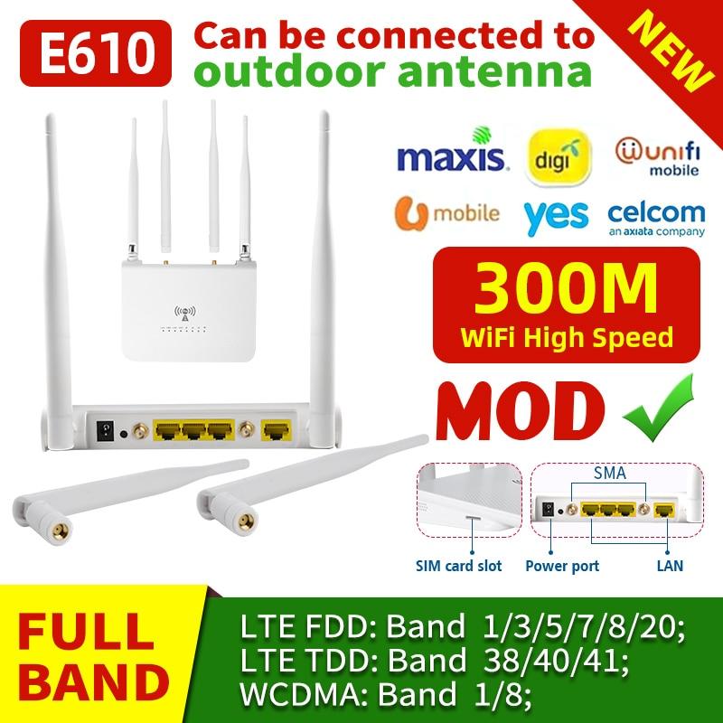 E610 Sim Card Wifi Router Wireless CPE Router CAT4 150Mbps 3G 4G LTE FDD/TDD Unlock Router With External Antennas WAN/LAN RJ45